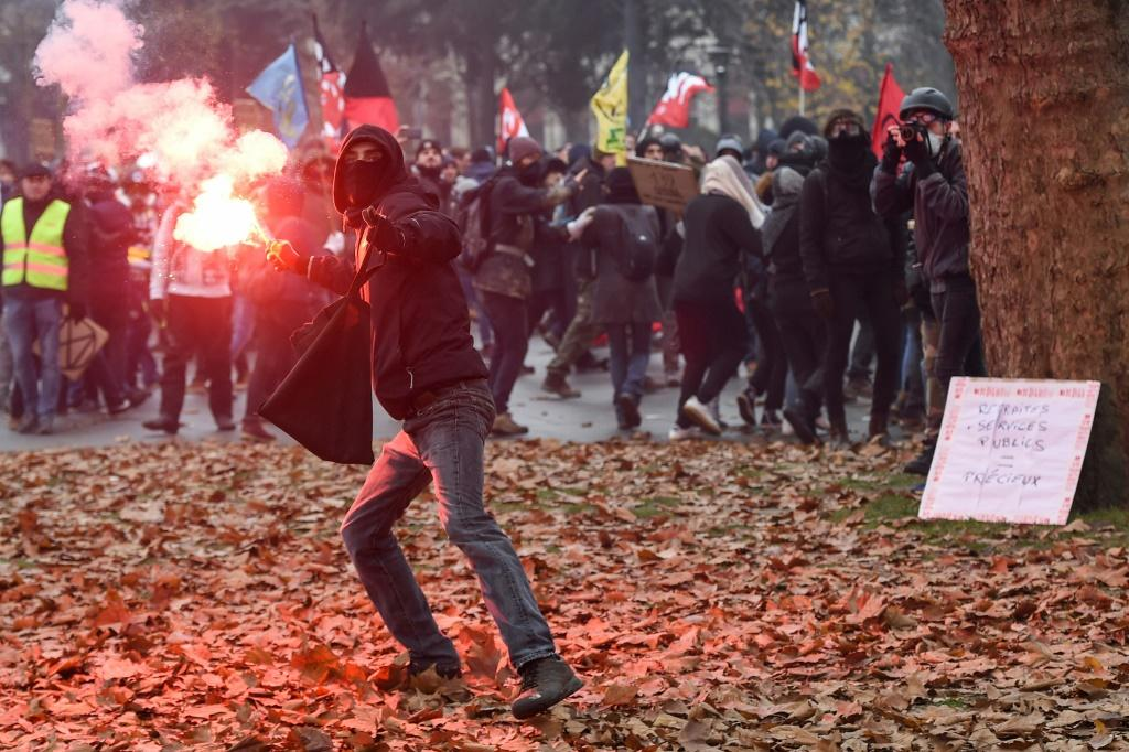 Protests were heated in the western city of Nantes