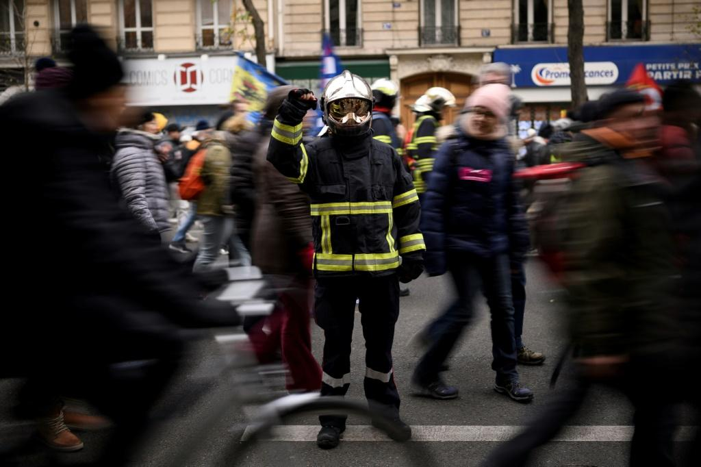 Firefighters joined several of the demonstrations across France on Thursday.