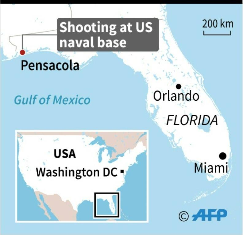 Map of Florida locating the Pensacola naval base., where a shooter was killed after opening fire on Friday.