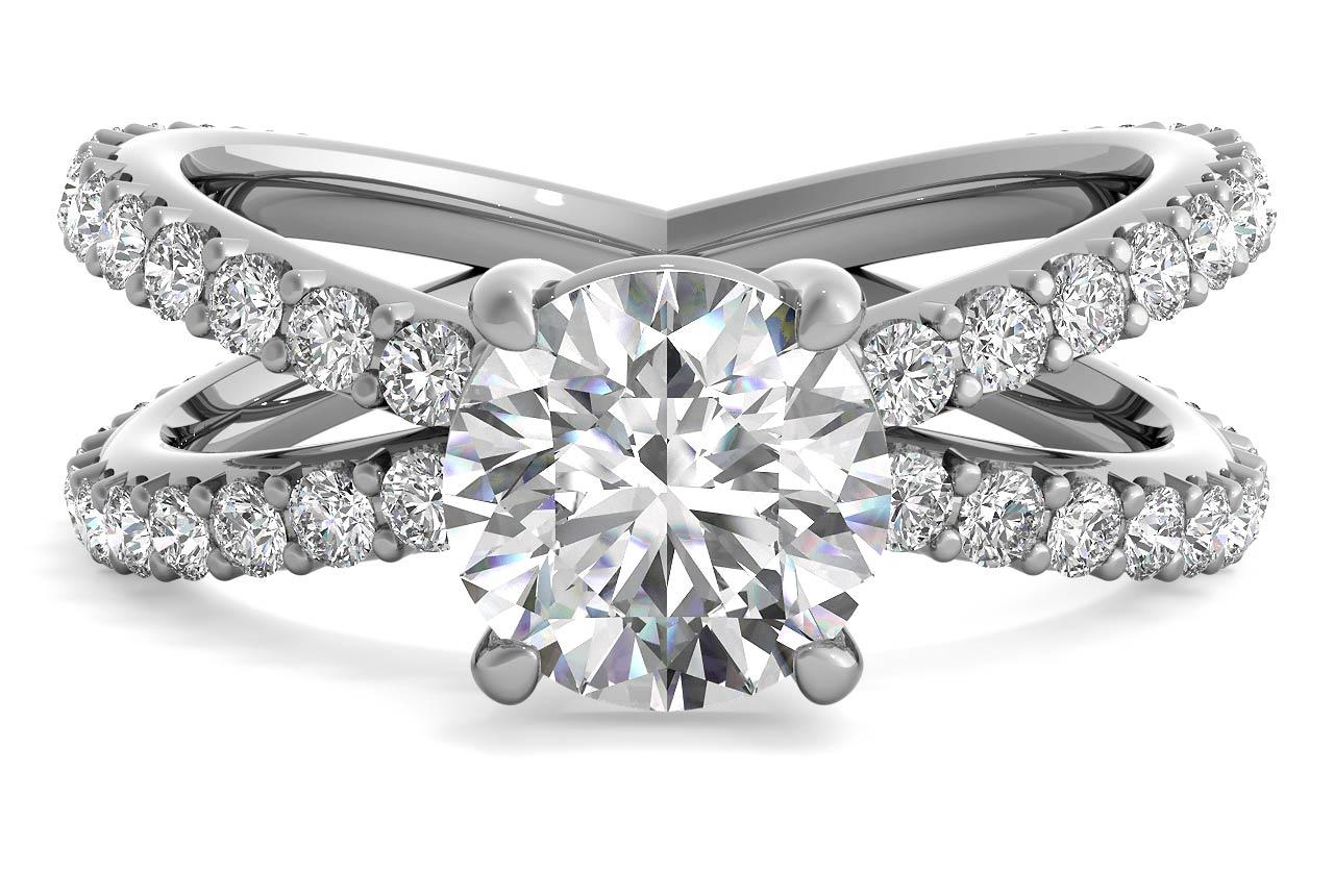 Open Band Diamond Engagement Ring