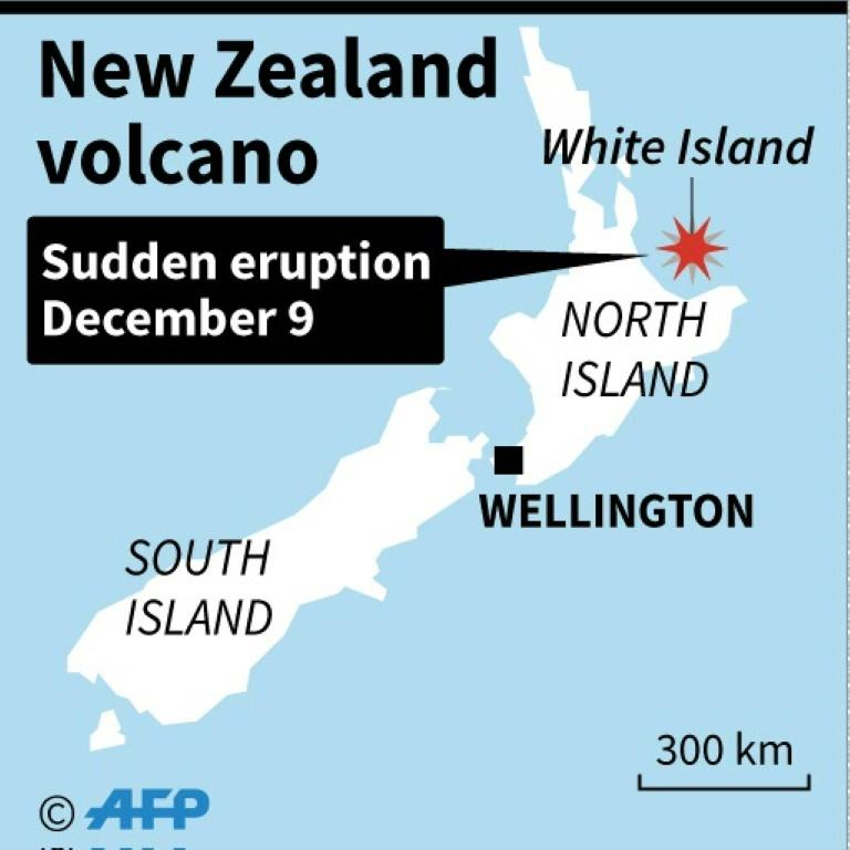 Map locating an erupting volcano in New Zealand.