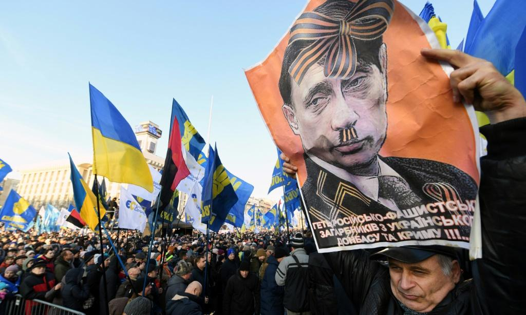 About 200 demonstrators spent the night in tents outside the Ukrainian president's office, seeking to put pressure on Zelensky not to 'capitulate' to his Russian counterpart