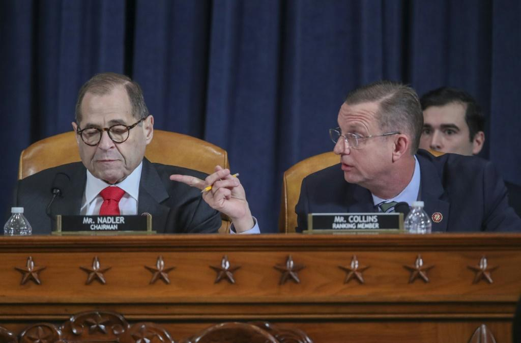 House Judiciary Committee Chair Jerry Nadler and ranking member Doug Collins debate the rules during a hearing on the impeachment of President Donald Trump