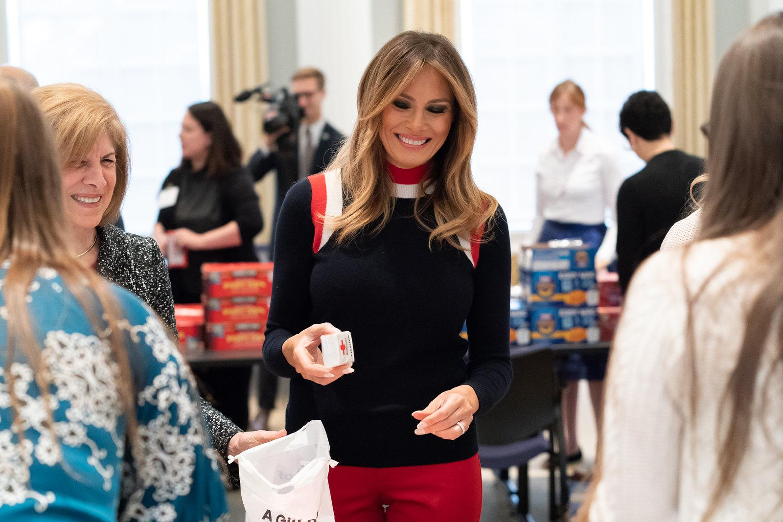 First Lady Melania Trump at the Red Cross