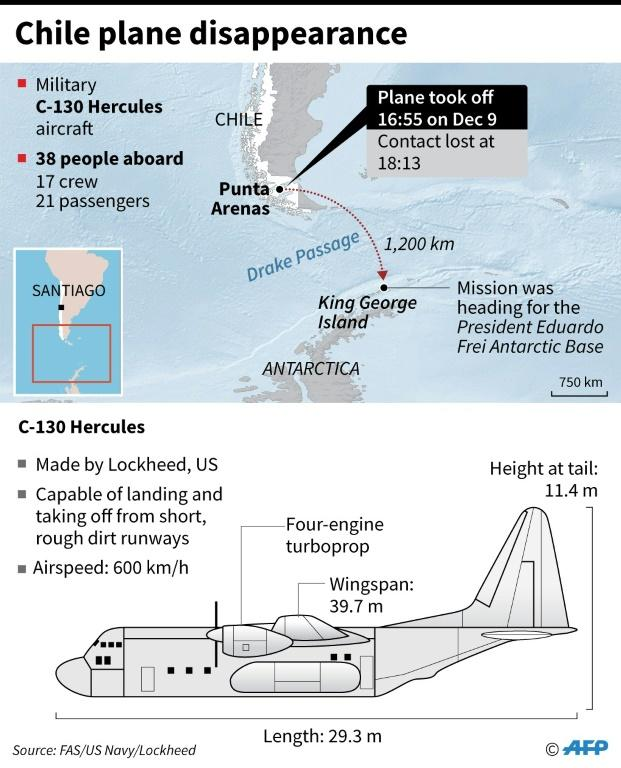 Graphic on an Antarctica-bound Chilean Air Force military plane which disappeared on Monday after taking off from the southern city of Punta Arenas.