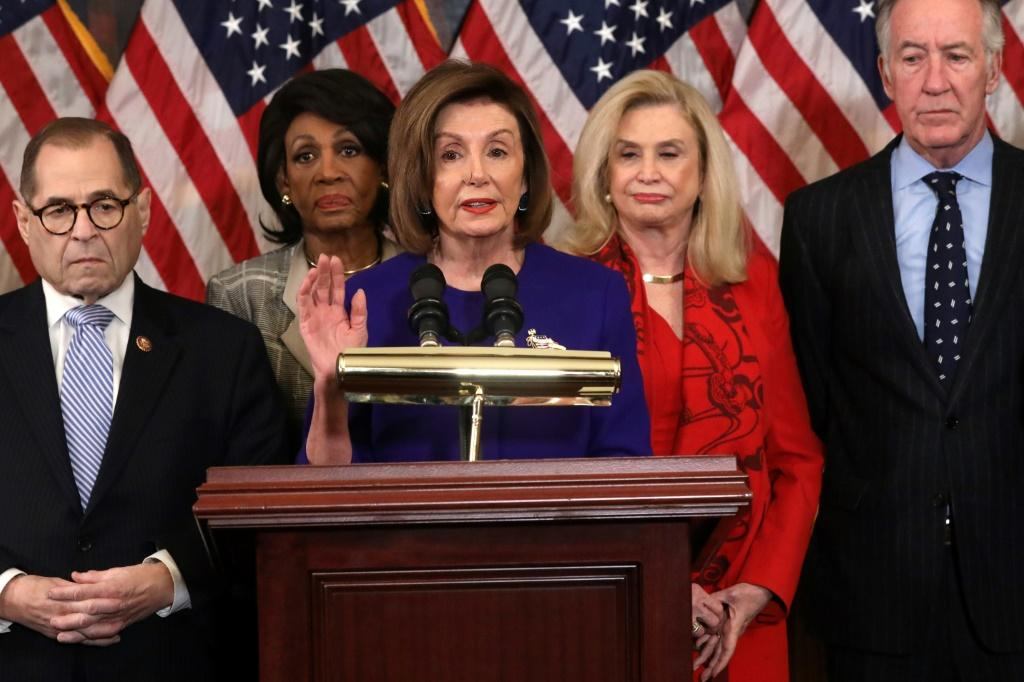 House speaker Nancy Pelosi at a press conference during which Democrats announced that two articles of impeachment are to be filed against President Donald Trump