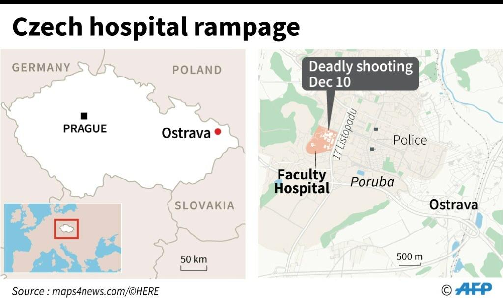 Map of Ostrava in Czech Republic locating the Faculty hospital, where a gunmen shot dead six patients Tuesday.