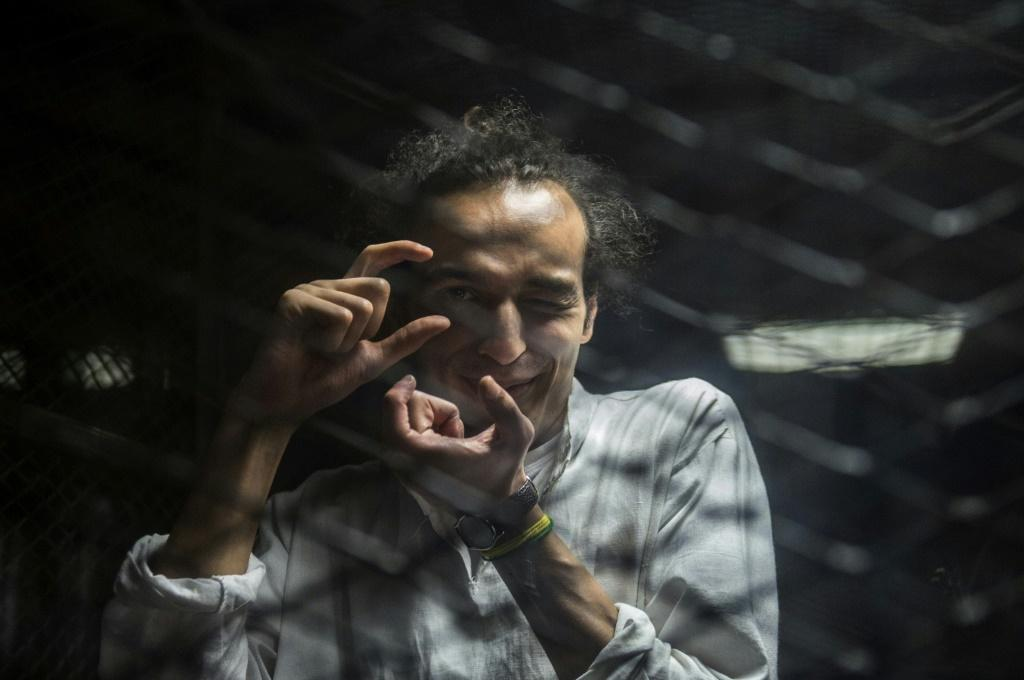 Egyptian photographer Mahmoud Abdel Shakour, known as Shawkan, released in March, 2019, pictured during his trial in Cairo in 2016 after covering the police dispersal of an Islamist protest camp in the city