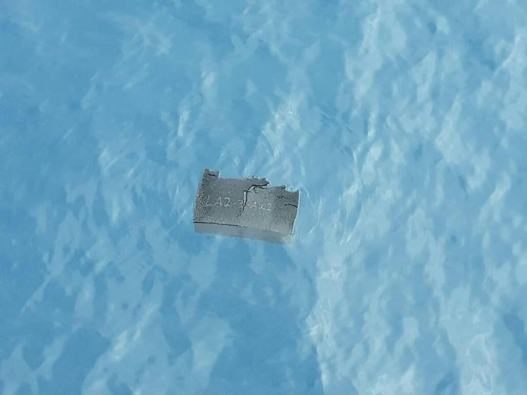A piece of debris believed to be from the missing plane is shown in this Chilean Air Force photo