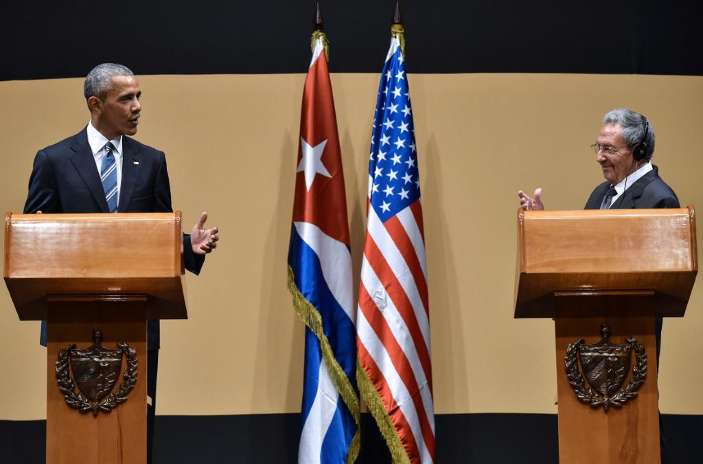 Former US President Barack Obama at a joint press conference in Havana with then Cuban president Raul Castro in March 2016, during a historic thaw between the two nations that has since been reversed by Obama's successor Presdient Donald Trump