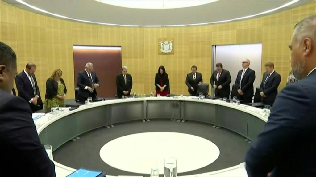 IMAGESNew Zealand's Prime Minister Jacinda Ardern and her cabinet pause for a minute's silence -- precisely a week since the volcano eruption -- in a tribute to the victims.