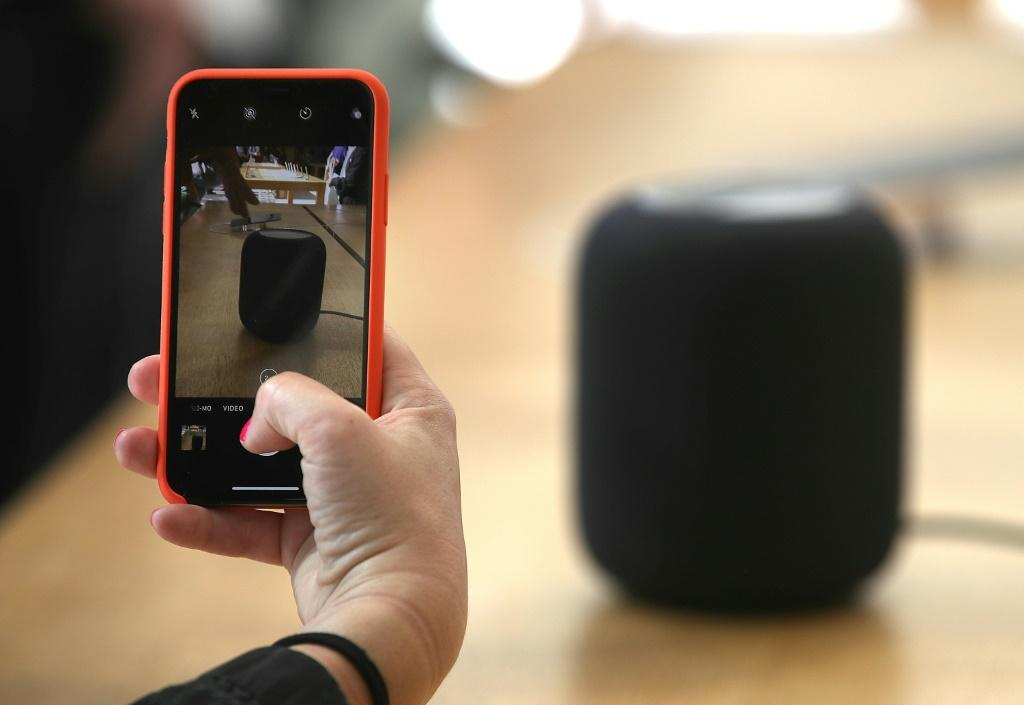 Apple's HomePod, a smart home device developed by the iPhone maker, is seen in a 2018 picture