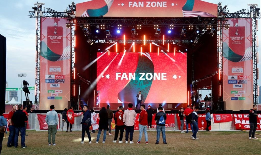 Fans start to gather at the fan Club World Cup fan zone ahead of Liverpool's semi-final clash with Monterrey