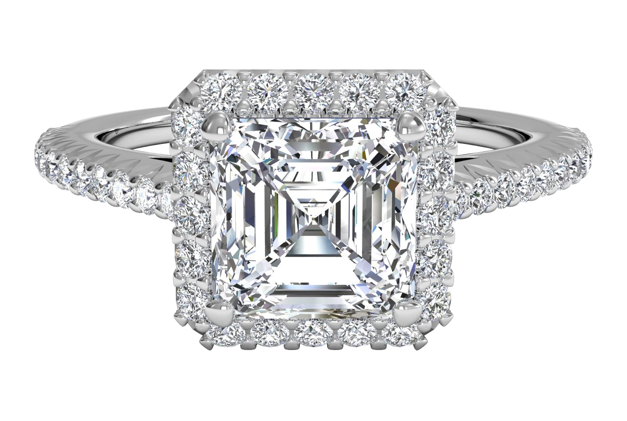 French-Set Halo Diamond Band Engagement Ring