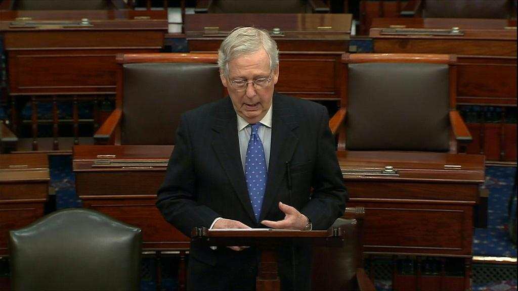 """IMAGES AND SOUNDBITESAs the US Senate is set to hold an impeachment trial of Donald Trump, the republican Senate majority leader Mitch McConnell slams democrats, condemning """"the most rushed, least thorough and most unfair impeachment inquiry in modern his"""