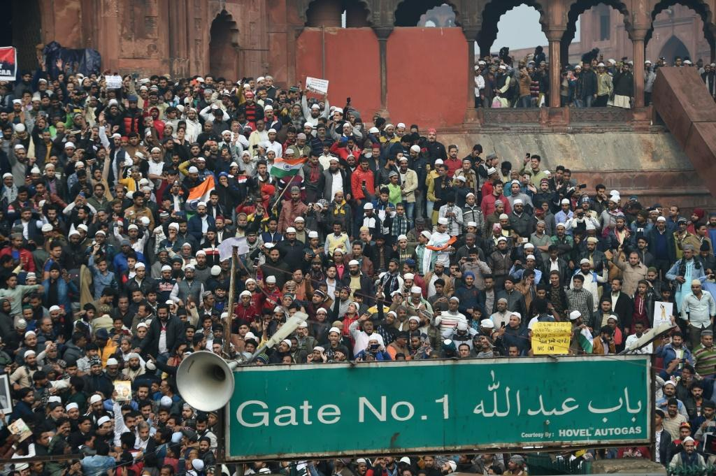 Thousands gathered at India's biggest mosque Jama Masjid in New Delhi