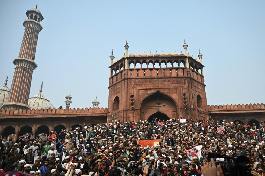 Thousands staged a sit-in in New Delhi after marching from India's biggest mosque Jama Masjid