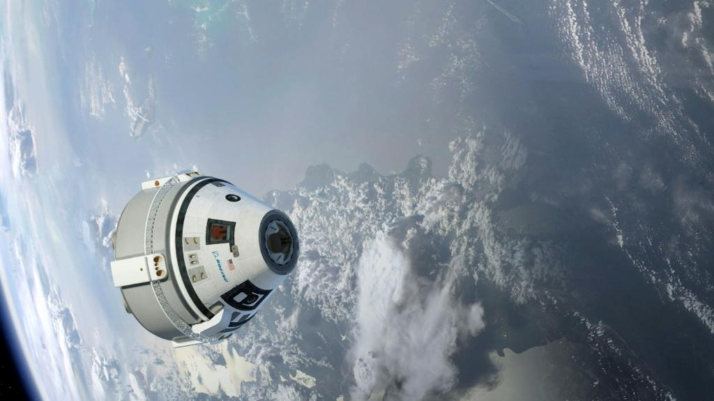 This illustration, provided by Boeing in 2015, depicts the Starliner capsule in Earth orbit