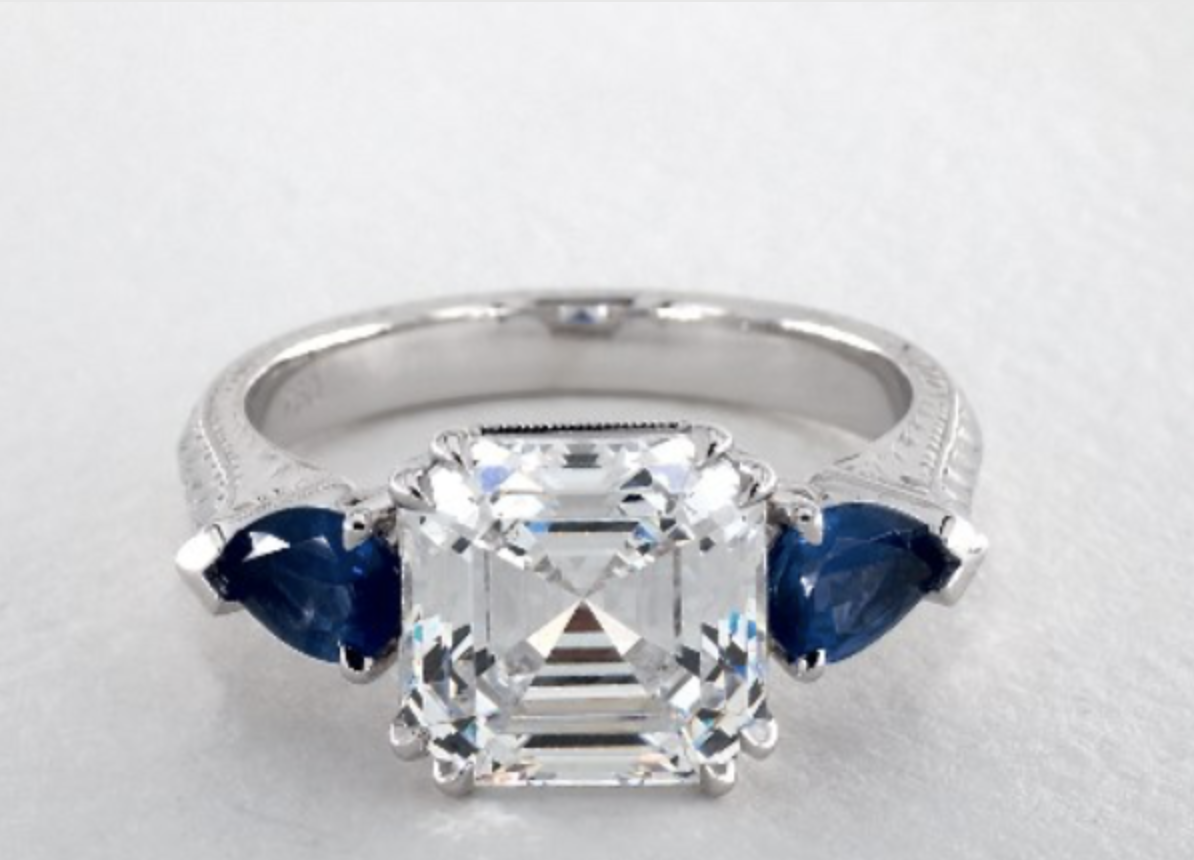 14K WHITE GOLD HAND ENGRAVED THREE-STONE ENGAGEMENT RING WITH BLUE SAPPHIRES