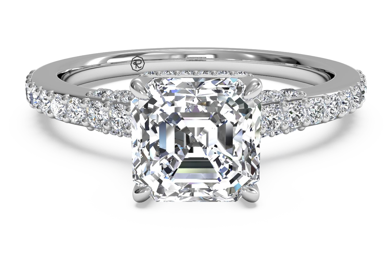French-Set Diamond Band Engagement Ring