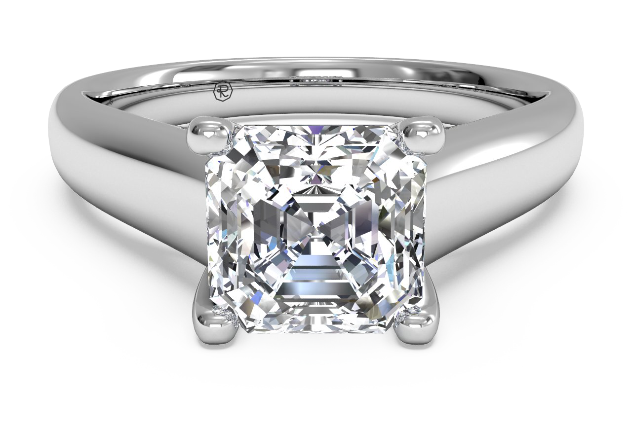 Solitaire Diamond Engagement Ring with Pavé Tulip Detail