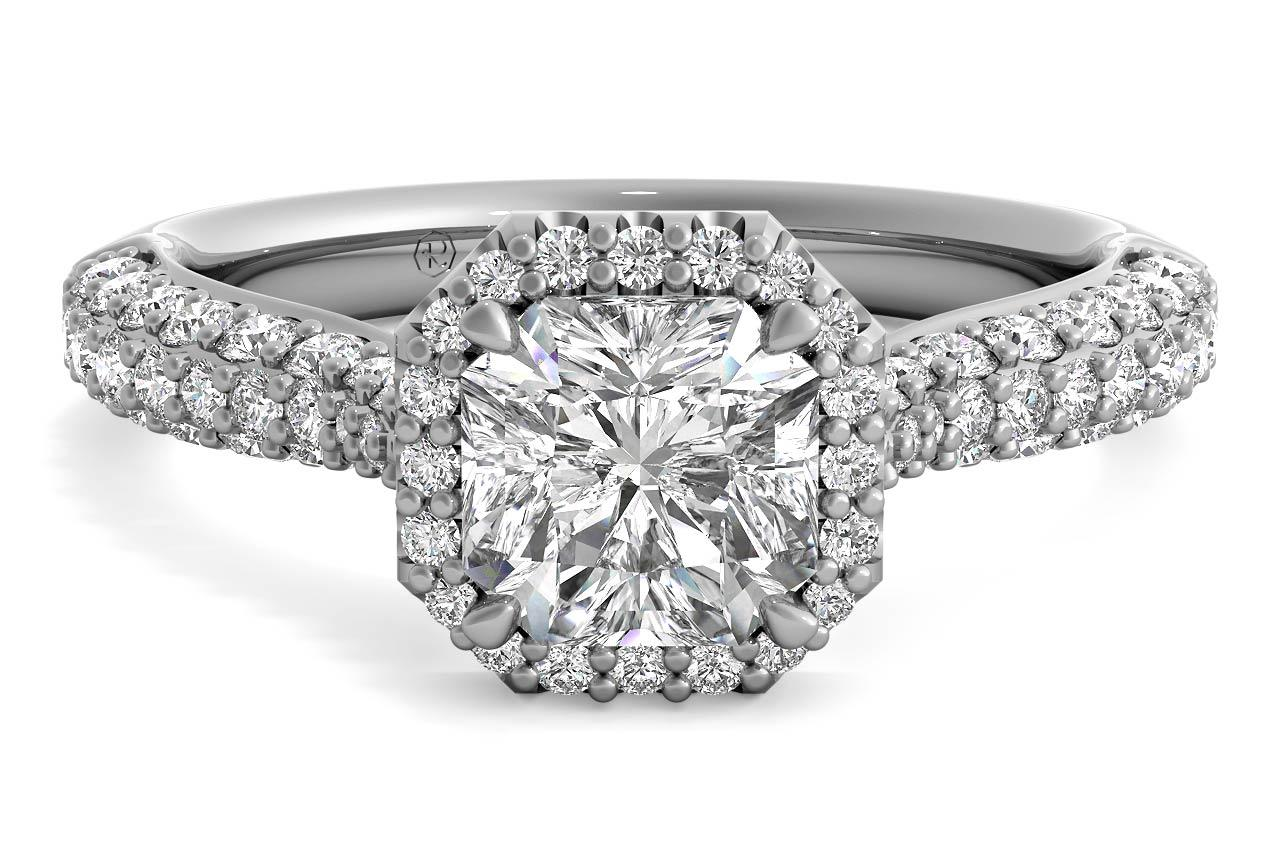 Three Row Pave Diamond Halo Engagement Ring