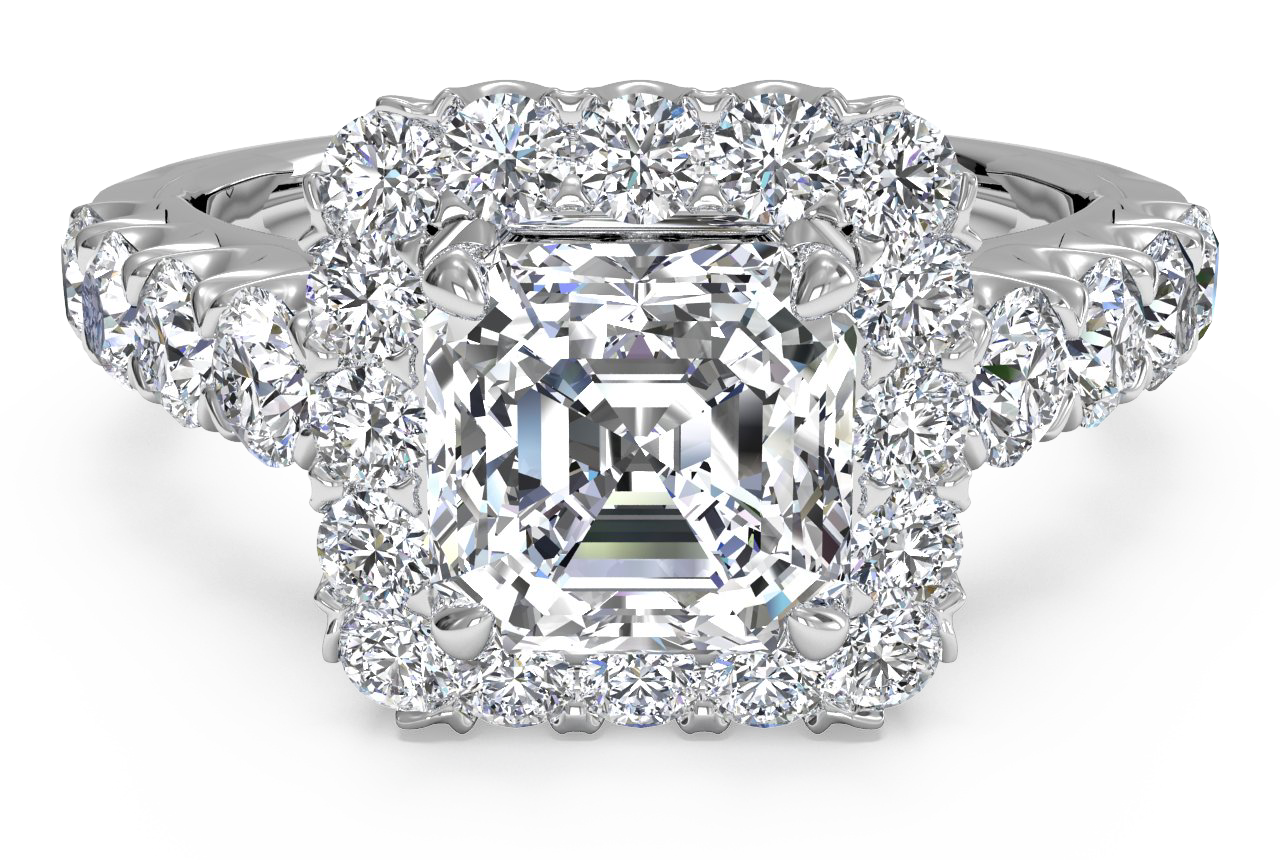 Masterwork Halo Diamond Band Engagement Ring
