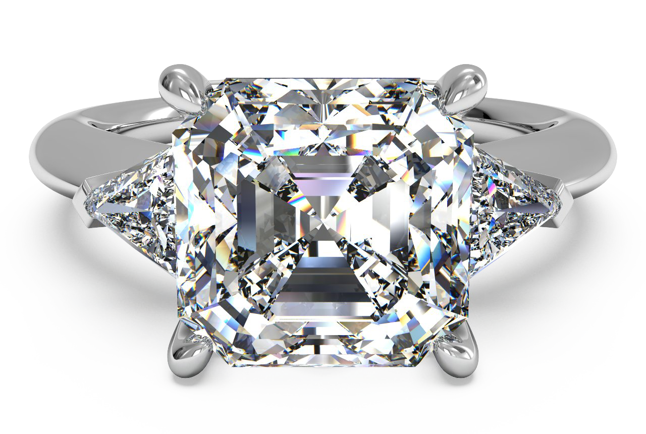 Three-Stone Diamond Engagement Ring with Trillion Side-Diamonds
