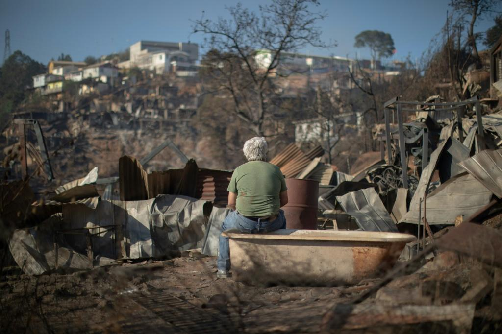 A man looks at the destruction caused by a forest fire on Rocuant hill in Valparaiso, Chile, on December 25, 2019