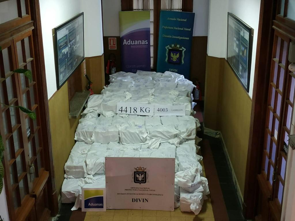 A photo released by Uruguay's navy showing 4,418 kilograms of cocaine seized at Montevideo's port