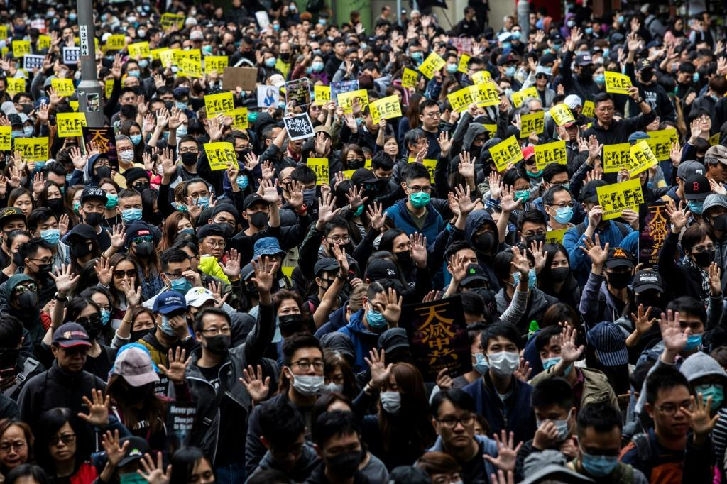 Pro-democracy protesters joined a massive rally on New Year's Day in Hong Kong