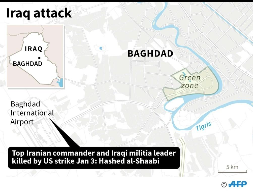 Map of Baghdad locating the international airport where a top Iranian commander and an Iraqi militia leader have been killed in an attack, according to Hashed al-Shaabi.