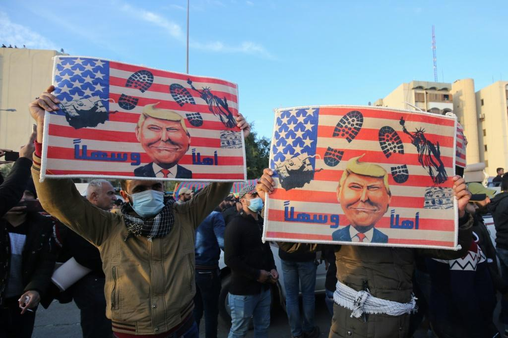 Supporters of Iraq's Hashed al-Shaabi force were protesting outside the US embassy in Baghdad on January 1