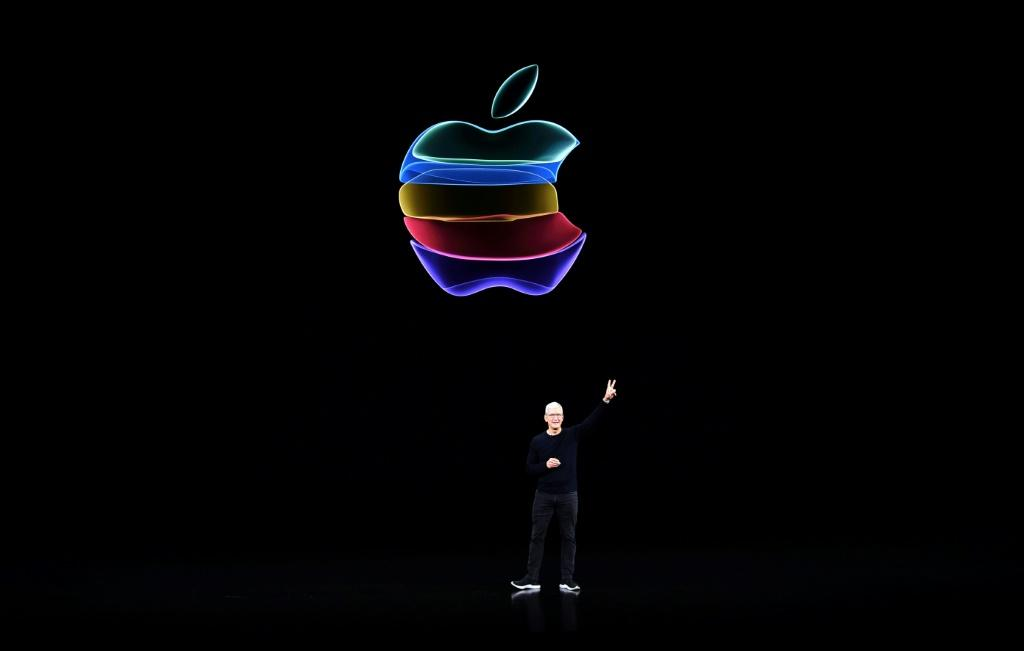 Tim Cook speaks during a product launch at Apple's headquarters in Cupertino, California in September 2019