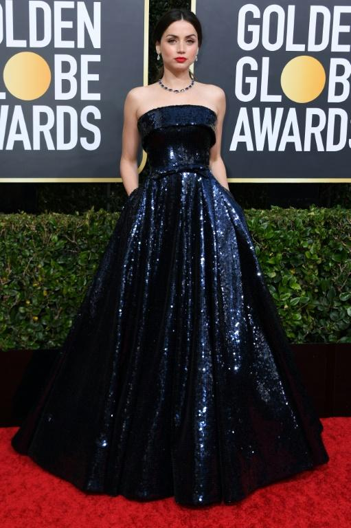 "Cuban actress Ana de Armas (""Knives Out"") looked stunning in a glittering blue gown"