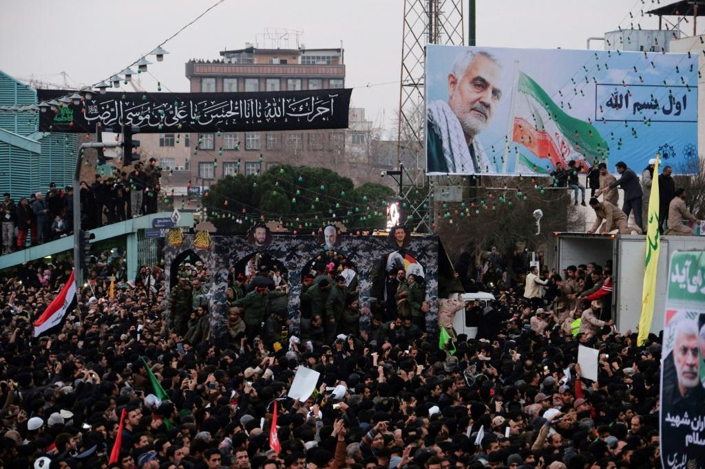 Iranians fill second city Mashhad to pay homage to top general Qasem Soleimani who was killed in a US drone strike in Iraq