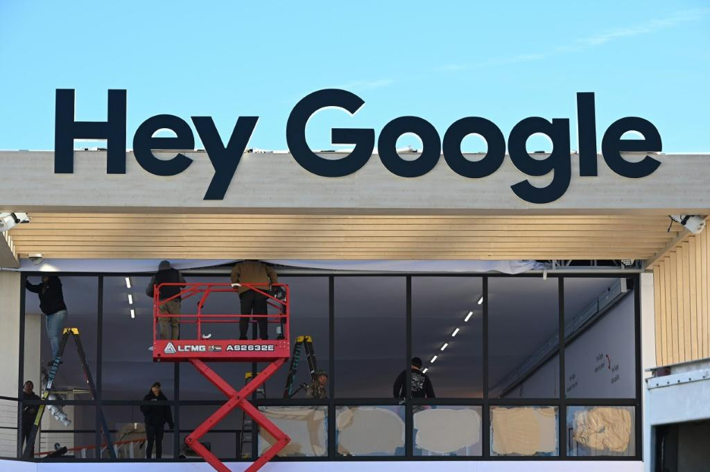 The Google Assistant booth is set up at the Las Vegas Convention Center ahead of the 2020 Consumer Electronics Show