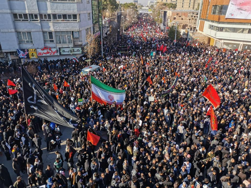 Huge crowds flock to Iranian general Qasem Soleimani's home town Kerman where he is to be buried after his killing in a US air strike in Baghdad on Friday