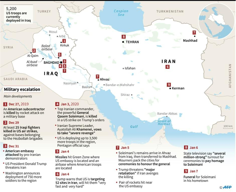 Map of Iran and Iraq showing developments in military escalation in which Iranian commander General Qasem Soleimani was killed in a US strike on the orders of Donald Trump.