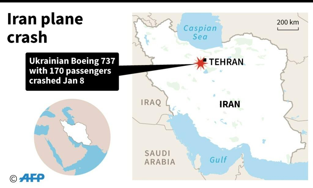 A map locating where a Ukraine-bound passenger plane crashed shortly after take-off from Tehran on Wednesday