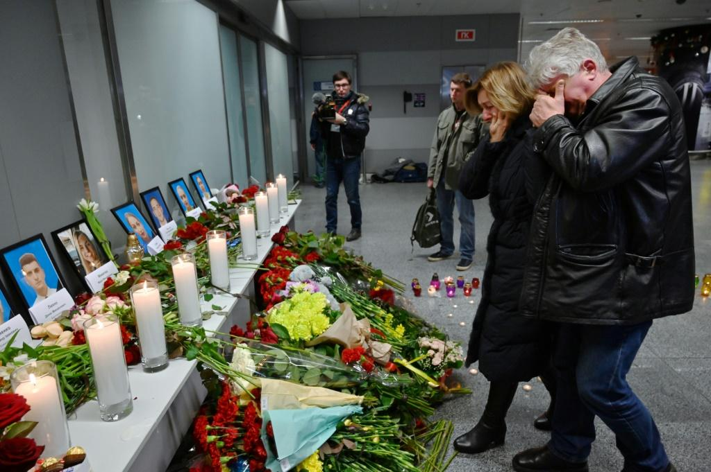 An impromptu memorial for the dead was set up at Boryspil airport outside Kiev where the Ukraine International Arlines flight had been scheduled to land on Wednesday
