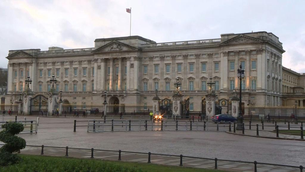 People outside Buckingham Palace react to Prince Harry and Meghan's decision to stand down as 'senior royals'.