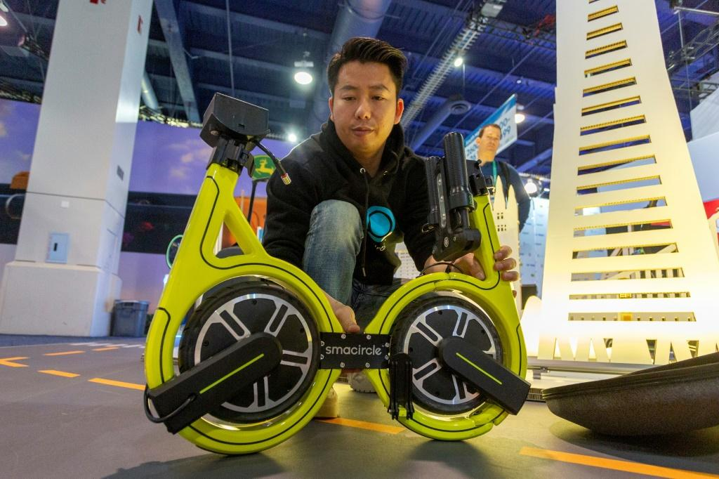 The Smacircle S1 micro-mobility bike, shown at the 2020 Consumer Electronics Show, can fold up and fit into a backpack or commuter case