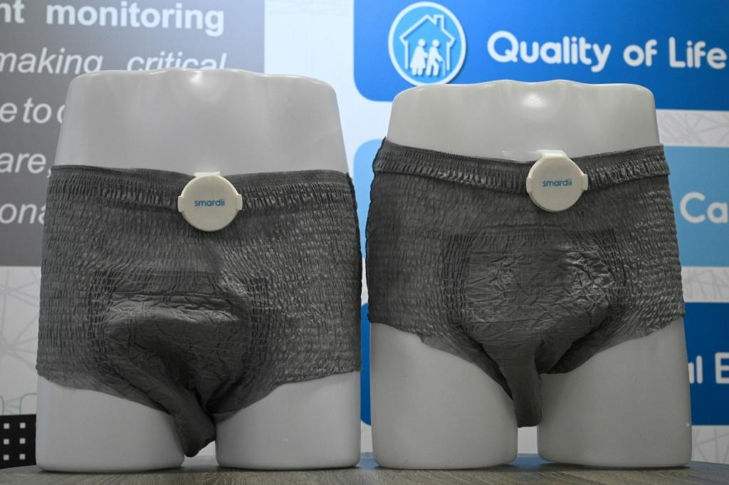 The Smardii connected diaper is seen on display atr the 2020 Consumer Electronics Show in Las Vegas