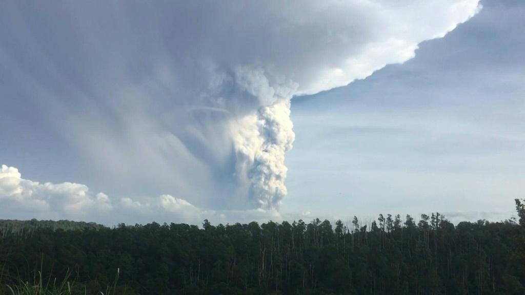 A volcano near the Philippine capital spews a massive cloud of ash into the sky on Sunday. Taal, one of the country's most active volcanoes located 65 kilometres (40 miles) south of Manila, last erupted in 1977.