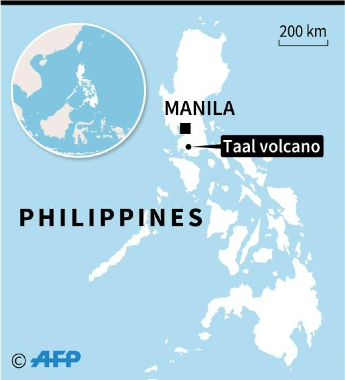 Map locating the Taal volcano in the Philippines where thousands of people have been evaculated after authorities said Sunday it could erupt imminently.