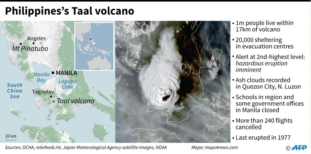 Satellite map of the erupting Taal volcano in the Philippines.
