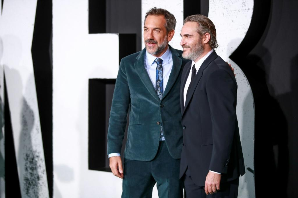 "Todd Phillips (left) and Joaquin Phoenix attend the premiere of ""Joker,"" which scooped 11 Oscare nominations"