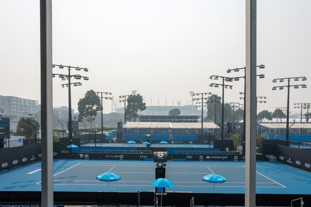 Empty courts at Melbourne Park on Wednesday after qualifying for the Australian Open was suspended because of toxic smoke from bushfires