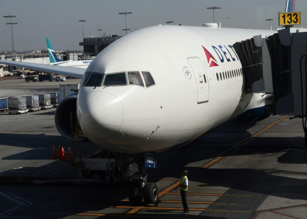 File picture of a Delta Airlines plane sitting on the tarmac at Los Angeles International Airport (LAX)